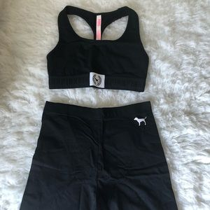 VS PINK high waisted bike shorts/sports bra bundle